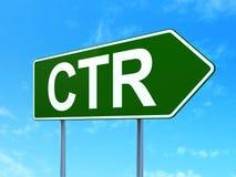 Finansbegrepp: CTR på vägmärkebakgrund Arkivfoto