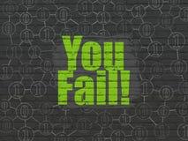 Finansbegrepp: Du missar! på väggbakgrund Arkivbild