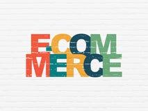 Finansbegrepp: E-kommers på väggbakgrund Arkivfoton