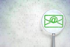 Finansbegrepp:  Email med optiskt exponeringsglas på digital bakgrund Arkivbild