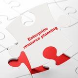 Finansbegrepp: Enterprice resursplanläggning på pusselbakgrund Fotografering för Bildbyråer
