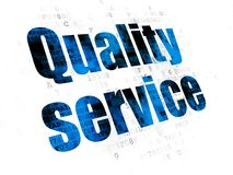 Finansbegrepp: Kvalitets- service på Digital bakgrund Arkivfoto