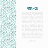 Finansbegrepp med den tunna linjen symboler arkivfoto