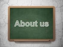 Finansbegrepp: Om oss på svart tavlabakgrund Royaltyfri Fotografi