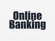 Finansbegrepp: Online-bankrörelsen på väggbakgrund Arkivfoton