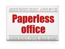 Finansbegrepp: Paperless kontor för tidningsrubrik fotografering för bildbyråer