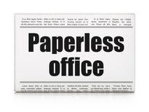 Finansbegrepp: Paperless kontor för tidningsrubrik stock illustrationer