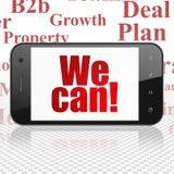 Finansbegrepp: Smartphone med kan vi! på skärm Arkivfoton