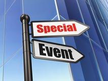 Finansbegrepp: special händelse för tecken på byggnadsbakgrund Arkivbild