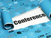 Finansbegrepp: svart textkonferens under stycket av sönderrivet papper Arkivbild