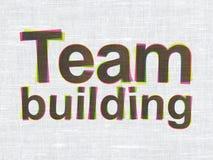 Finansbegrepp: Team Building på tygtextur Royaltyfri Fotografi