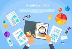 Finansdiagrammet dokumenterar skrivbordanalys stock illustrationer