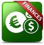 Finanse euro znaka zieleni kwadrata guzik Zdjęcie Stock