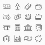 Finanse i pieniądze konturu uderzenia symbolu ikony Zdjęcia Royalty Free