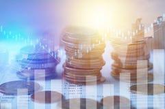 Finanse, kapitałowa bankowość i inwestorski pojęcie, Dwoisty exporsur Zdjęcie Royalty Free