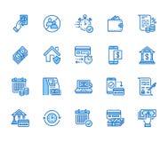Finanse, pieniądze mieszkania linii pożyczkowe ikony ustawiać Szybki kredytowy zatwierdzenie, waluty transakcja, żadny komisowy,  ilustracji