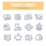 Finanse & pieniądze Doodle ikony Zdjęcia Stock