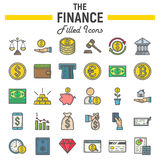 Finanse wypełniający kontur ikony set, biznes podpisuje Obrazy Royalty Free