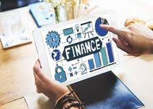Finansekonomivinst som packar ihop begrepp för budget- intäkt Arkivfoto