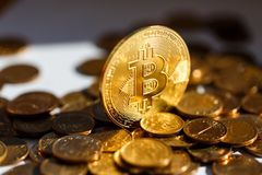 Finanser av det framtida - Bitcoin cryptocurrency Guld- blänka lyx royaltyfri foto