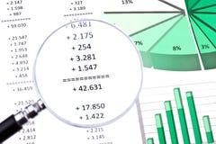 Finanser, nummer och diagram Fotografering för Bildbyråer