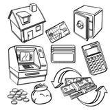 Finansiell & affärssymbolsuppsättning Arkivbild