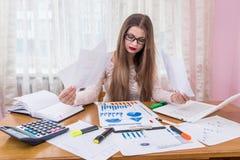 Finansiell analytiker som jämför affärsgrafer, arbetsplats, royaltyfri fotografi