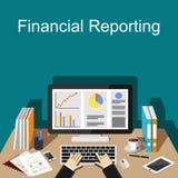 Finansiell anmäla illustration Plana designillustrationbegrepp för affären, finans, ledning Fotografering för Bildbyråer