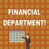 Finansiell avdelning för handskrifttext Begreppsbetydelsedel av en organisation som analysisages dess pengaraffärsman vektor illustrationer