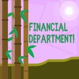 Finansiell avdelning för ordhandstiltext Affärsidé för del av en organisation som analysisages dess pengar vektor illustrationer