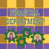 Finansiell avdelning för ordhandstiltext Affärsidé för del av en organisation som analysisages dess pengar två royaltyfri illustrationer