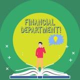 Finansiell avdelning för ordhandstiltext Affärsidé för del av en organisation som analysisages dess pengarman vektor illustrationer
