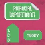 Finansiell avdelning för ordhandstiltext Affärsidé för del av en organisation som analysisages dess pengarmellanrum vektor illustrationer
