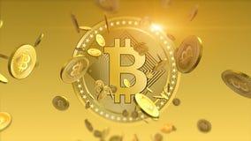 Finansiell bakgrund för skinande bitcoins vektor illustrationer