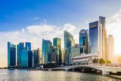 Finansiell byggnad för Singapore Cityscape i Marina Bay område Arkivbild