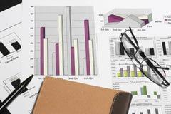 finansiell diagramanalys för affär med den pennglasögon & anteckningsboken Royaltyfri Bild