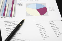 finansiell diagramanalys för affär med pennan Royaltyfri Bild