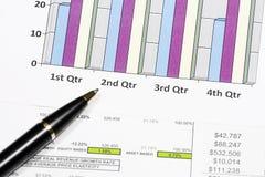 finansiell diagramanalys för affär med pennan Royaltyfri Fotografi