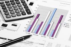 finansiell diagramanalys för affär med pennan & räknemaskinen Royaltyfria Bilder