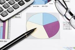 finansiell diagramanalys för affär med pennglasögon & calculat Arkivbilder