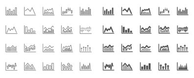 Finansiell diagramlinje symboler Stearinljuspinnegraf vektor stock illustrationer
