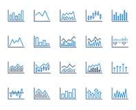 Finansiell diagramlinje symboler Stearinljuspinnegraf vektor royaltyfri illustrationer