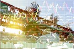 Finansiell ekonomipresentation av tung konstruktion Arkivbilder