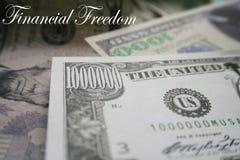 Finansiell frihet med 7 diagram i högkvalitativa räkningar Royaltyfri Bild