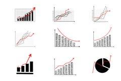 Finansiell graf, grafsymboler Royaltyfria Foton