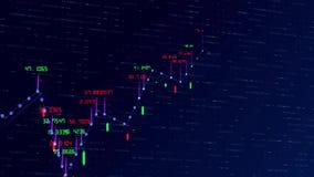 Finansiell graf och data som visar på en stadig förhöjning i vinster, växande diagram och flödande räknare av nummer royaltyfri illustrationer
