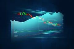 Finansiell graf på teknologiabstrakt begreppbakgrund Royaltyfri Bild