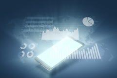 Finansiell graf på teknologiabstrakt begreppbakgrund Arkivfoto