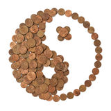 finansiell harmoni gjorde pengarsymbolyang yin Arkivbild