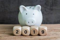 Finansiell mål, budget eller besparing för året 2019, vit spargris arkivbild